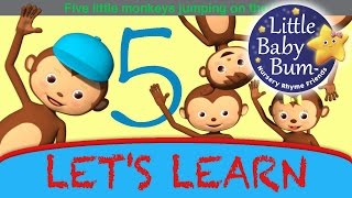 "Let's Learn ""five Little Monkeys Jumping On The Bed""! - With Littlebabybum"