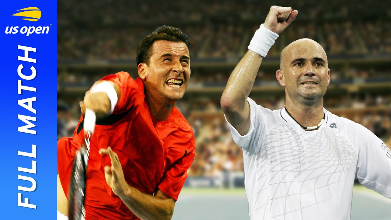 Andrei Pavel vs Andre Agassi in a tale of three tie breakers!   US Open 2006 Round 1