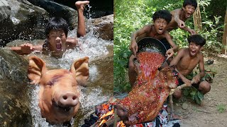 Primitive Technology - Meet Pig Head At River Take Cooking - Eating Delicious