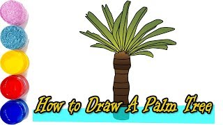 How to Draw A Palm Tree |  Palm tree drawing For Kids  | Coloring for kids