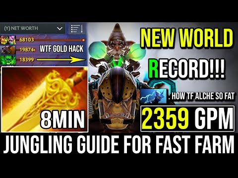 8MIN RADIANCE - NEW RECORD 2359GPM EASY JUNGLING TIPS BY WORLD TOP 1 ALCHEMIST PLAYER DOTA 2