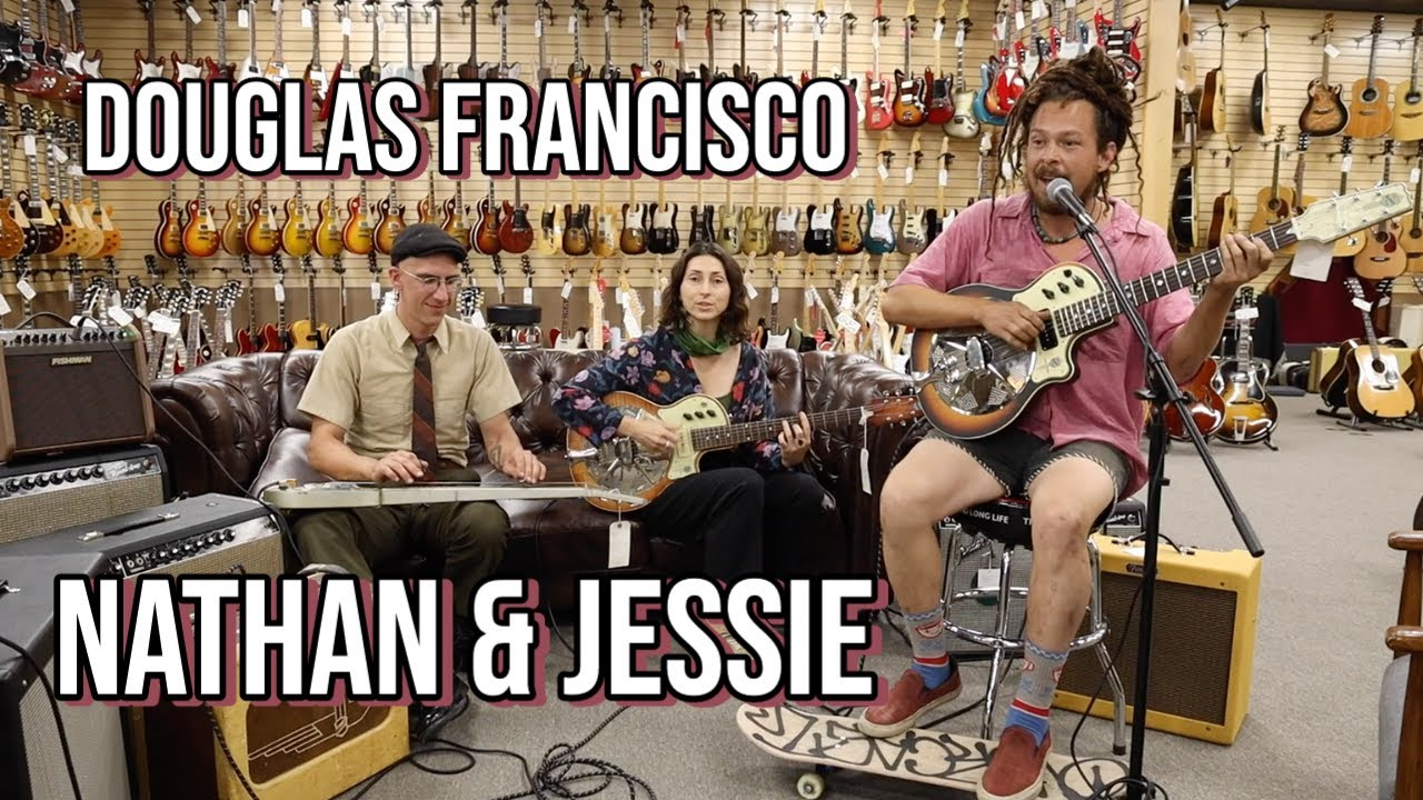 Nathan & Jessie with Douglas Francisco with National Guitars at Norman's Rare Guitars