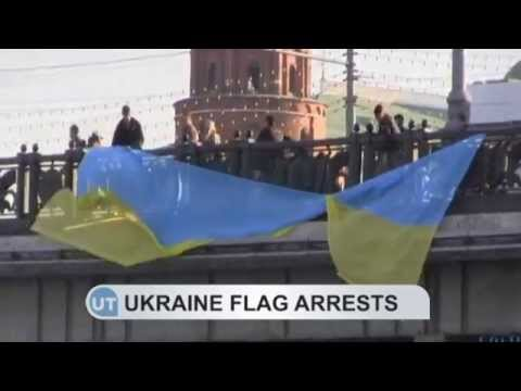 Ukrainian flag protest in Moscow: Russian police arrest anti-war activists