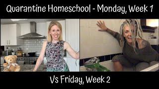 Quarantine Home School - Mon vs Fri - from Mary Poppins to Miss Hannigan