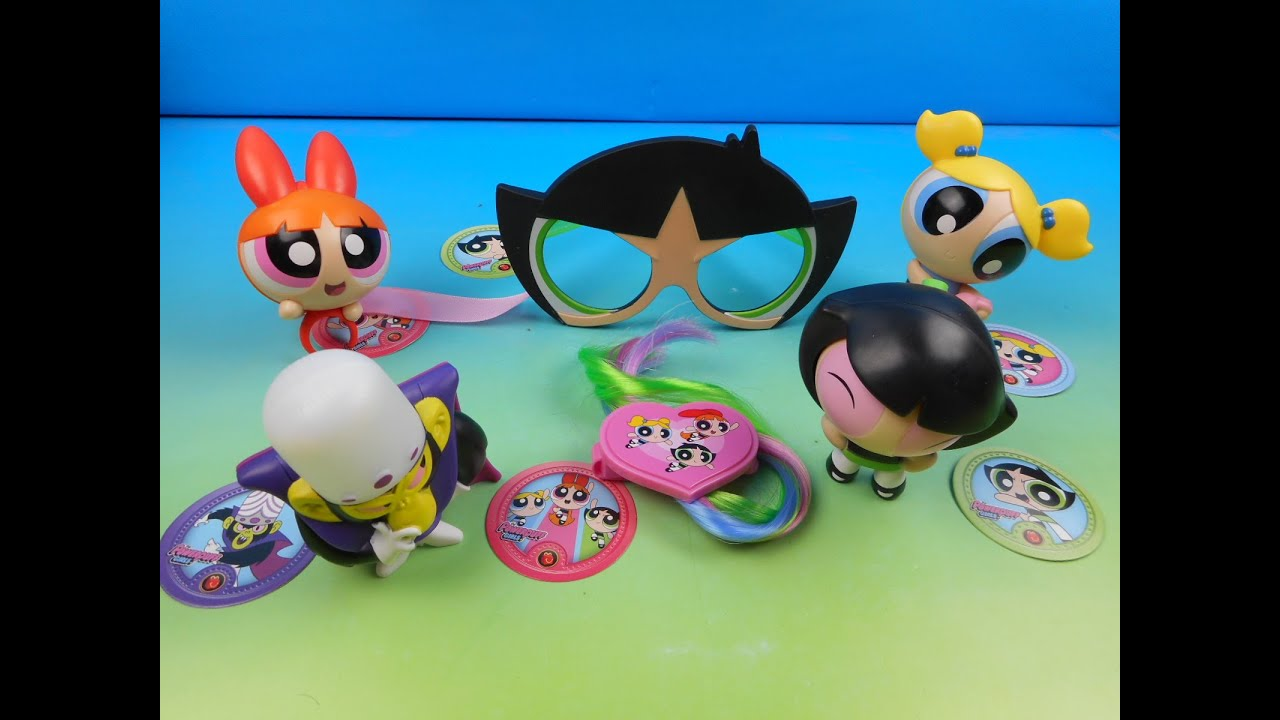 2016 THE POWERPUFF GIRLS SET OF 6 McDONALDS HAPPY MEAL TOYS VIDEO