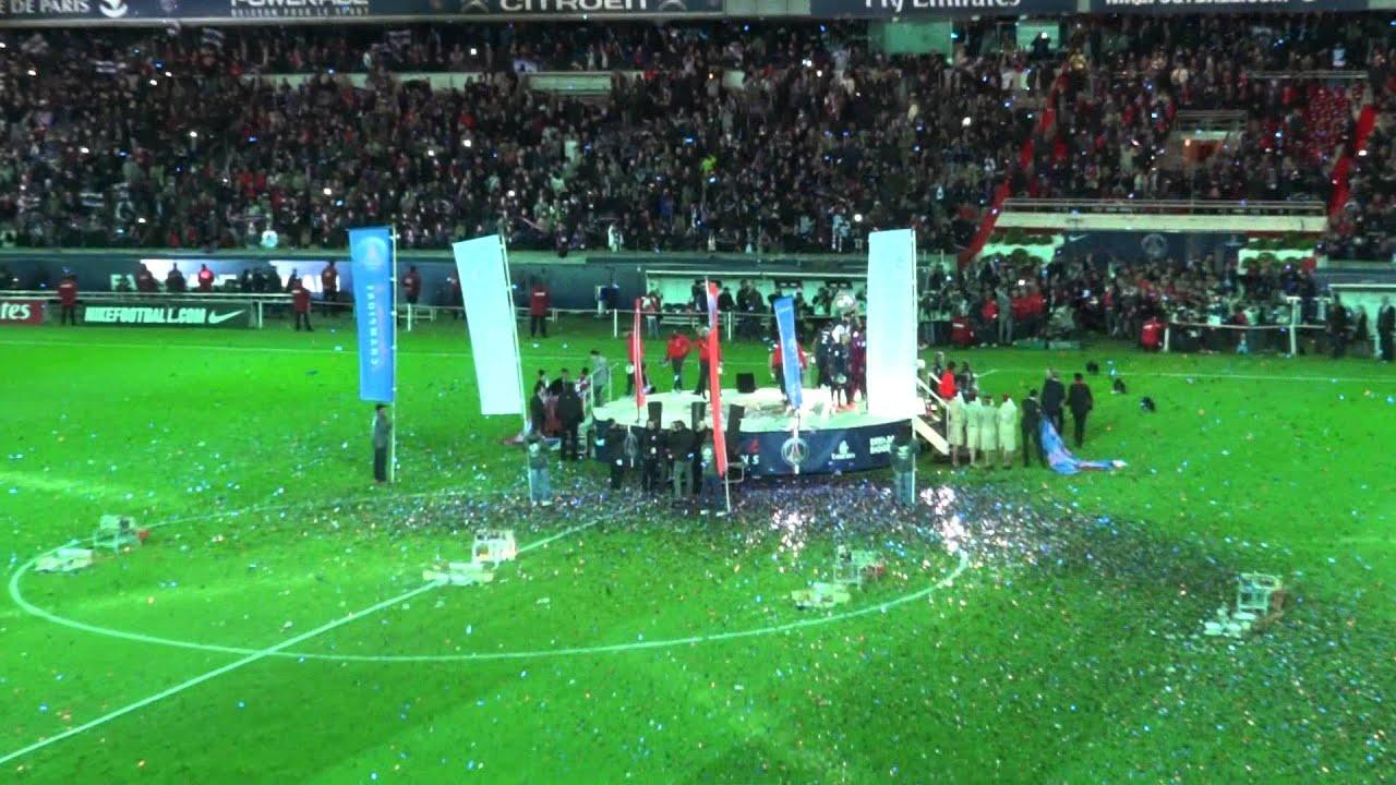 Psg Brest 18 05 2013 3 1 L1 24 25 Remise Du Trophée De Champion De France Au Psg Youtube
