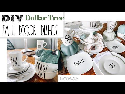 DIY Dollar Tree Fall Decor 2019 | Rae Dunn Inspired Dishes