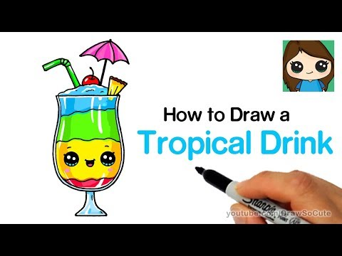 How to Draw a Tropical Drink Easy and Cute
