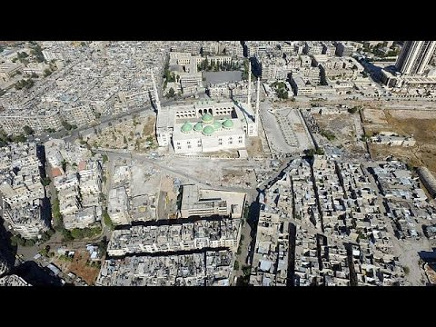Drone footage of empty streets and destroyed city of Aleppo