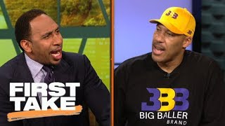 LaVar Ball fires up Stephen A. with outrageous Lakers win prediction with Lonzo | First Take | ESPN