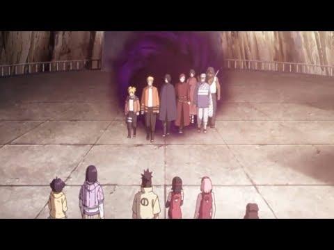 Наруто, Боруто и Саске возвращаются после боя с Ооцуцуки