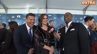 """""""extra's"""" aj calloway was on the red carpet of 2016 fox upfronts catching up with """"bones"""" stars david boreanaz and emily deschanel as they attempted to chat about show's farewell season. , too ..."""