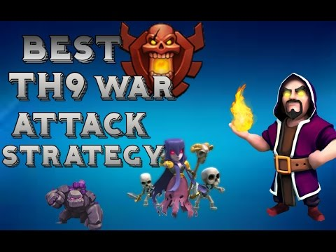 Clash Of Clans Best th9 War Attack Strategy Tutorial