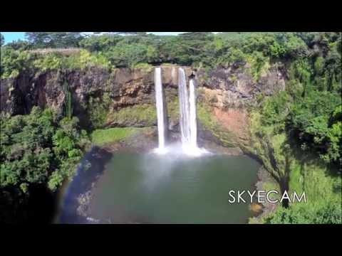 Aerial Drone of Wailua Falls, KAUAI