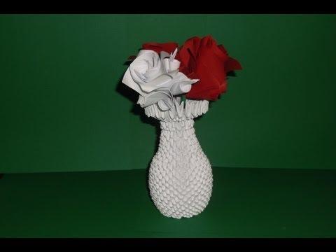 3D origami Vase tutorial |  DIY  Paper Craft Vase
