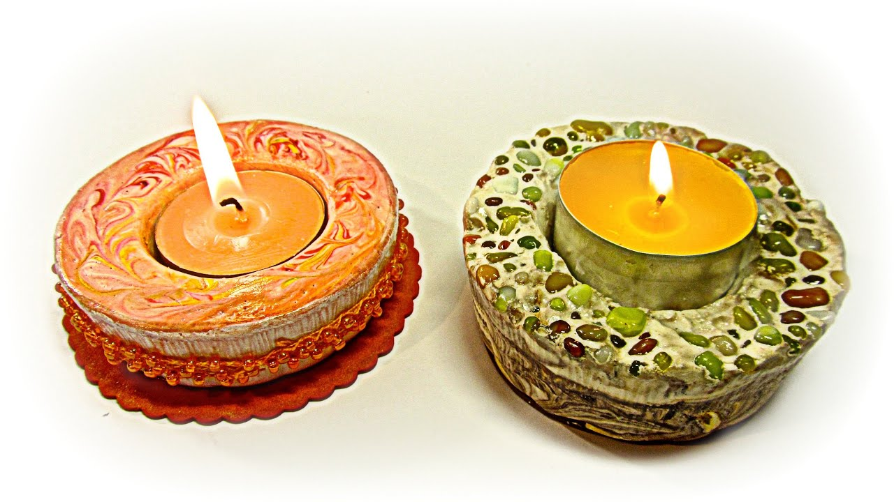 C mo hacer porta velas de yeso plaster candle holders - Como hacer velas ...