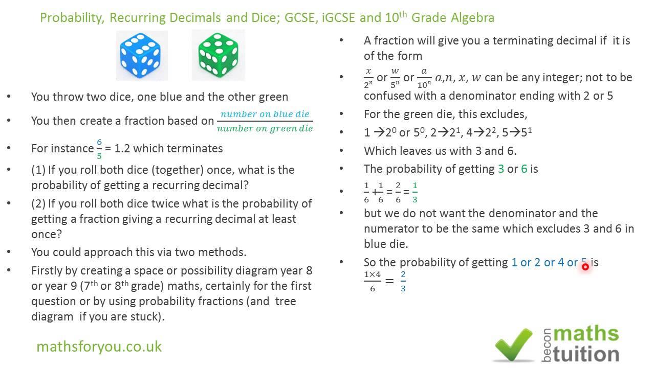 Probability recurring decimals repeating decimals dice gcse probability recurring decimals repeating decimals dice gcse igcse maths 10th grade algebra ccuart Images