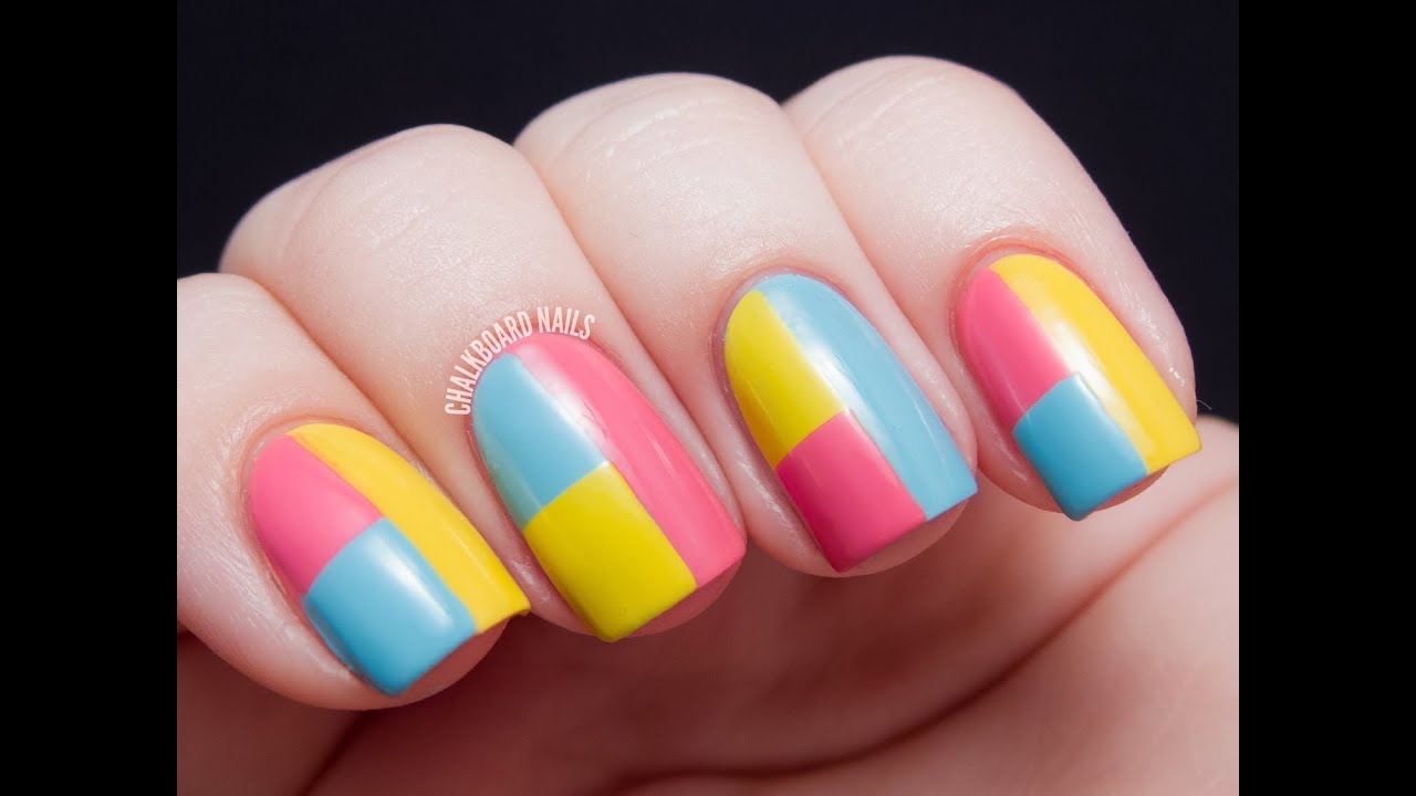 Springtime Color Block Tape Manicure Chalkboard Nails