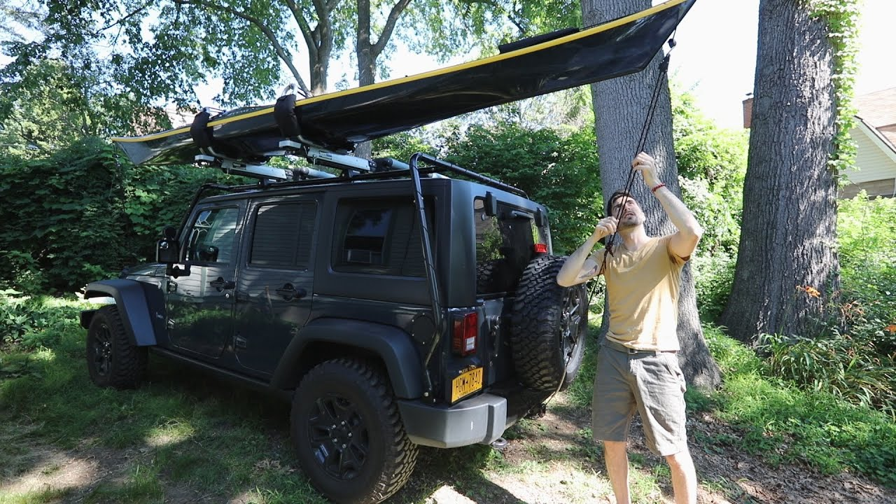 Kayaking Tips Strap And Carry A Kayak On Jeep Wrangler