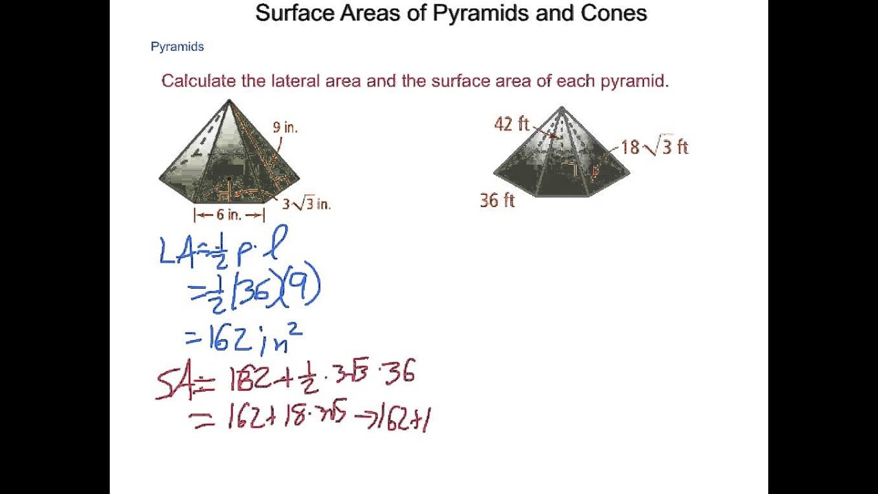 Geometry 11 3 Surface Areas Of Pyramids And Cones