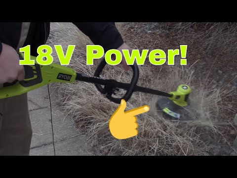 Ryobi 18 volt string trimmer review (Model# P20010A) - YouTube