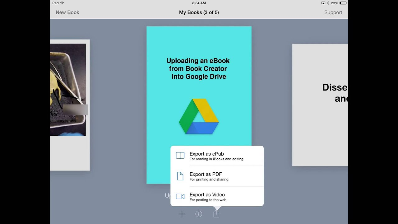 Exporting an eBook from Book Creator to Google Drive