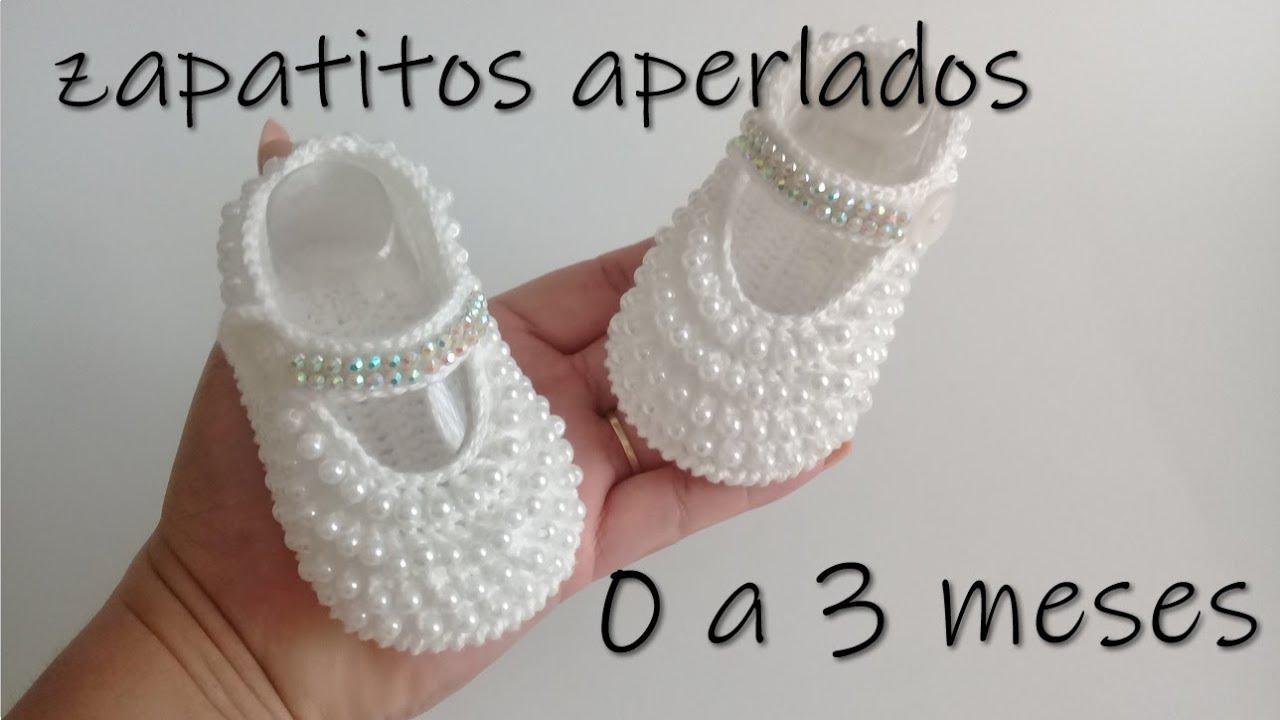 beeb73fff6c zapatitos aperlados para bebe a crochet -0 a 3 meses - YouTube