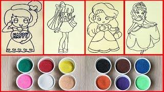 Tổng hợp TÔ MÀU TRANH CÁT CÔNG CHÚA DỄ THƯƠNG NHẤT, Colored sand painting princess (Chim Xinh)