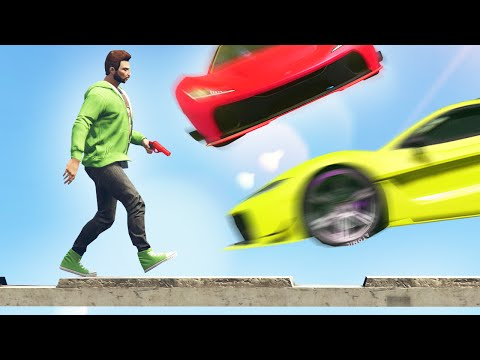 CARS vs. TIGHTROPE RUNNERS! (GTA 5 Funny Moments)