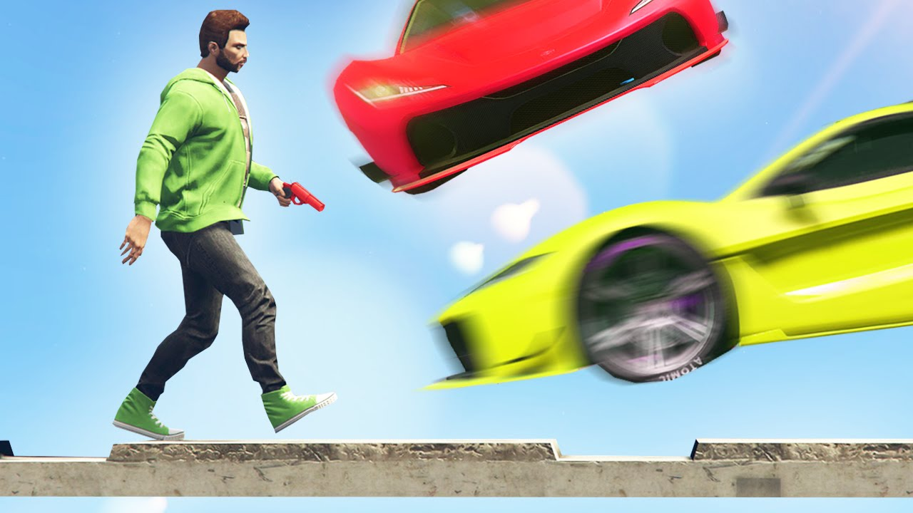 CARS vs TIGHTROPE RUNNERS GTA 5 Funny Moments