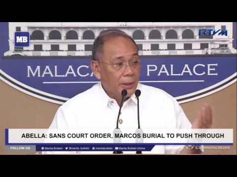 Sans court order, Marcos burial to push through – Abella