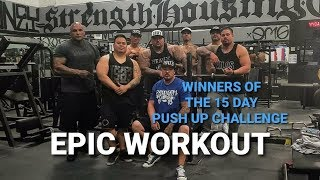 EPIC BENCH PRESS WORKOUT WITH THE WINNERS OF THE (15 DAY PUSH UP CHALLENGE)