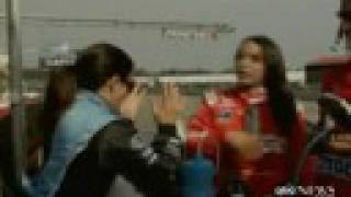 Lady race car drivers fighting: Danica Patrick and Milka Duno
