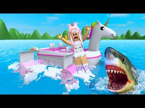 Download Youtube: ROBLOX SharkBite Trying Not To Get Eaten By Sharks with My Unicorn Boat