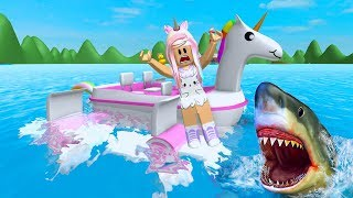 ROBLOX SharkBite Trying Not To Get Eaten By Sharks with My Unicorn Boat
