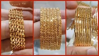 Latest Gold Bangle Designs Six and Eight piece Bangle Sets   Light Weight Gold Bangles