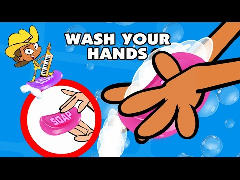 Kids Song WASH YOUR HANDS funny animated     39 s music cartoon by Preschool Popstars kid songs Poster