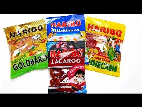 HARIBO - German Candy Compilation - Sauer Goldbären, Lacaroo, Milchbären & Schnecken