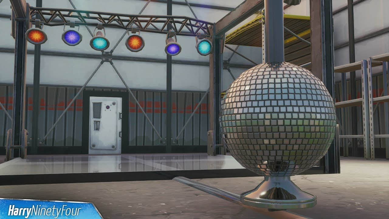 Dance With Others To Raise The Disco Ball In An Icy Airplane Hangar Location Fortnite Youtube