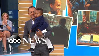 "The ""CSI: NY"" actor and his 1-year-old son appear live on ""GMA."""