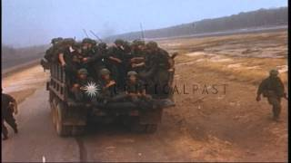 US Army 1st Infantry Division soldiers get off from helicopters and board trucks ...HD Stock Footage