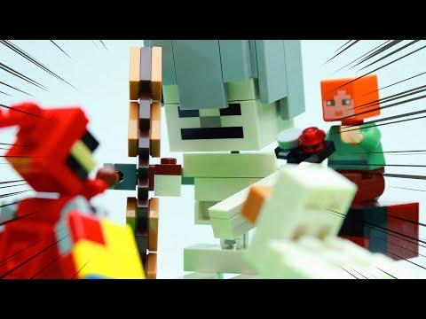 Lego Minecraft Brick Building Skeleton BigFig With Magma Cube - Lego Stop Motion