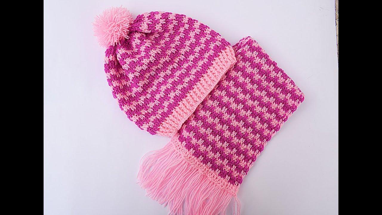 Crochet Hat And Scarf Very Easy Set Diy Majovel Crochet Youtube