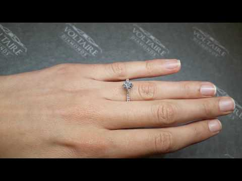 Rose Gold Diamond Compass Set Round Brilliant Engagement Ring :: ER 2224