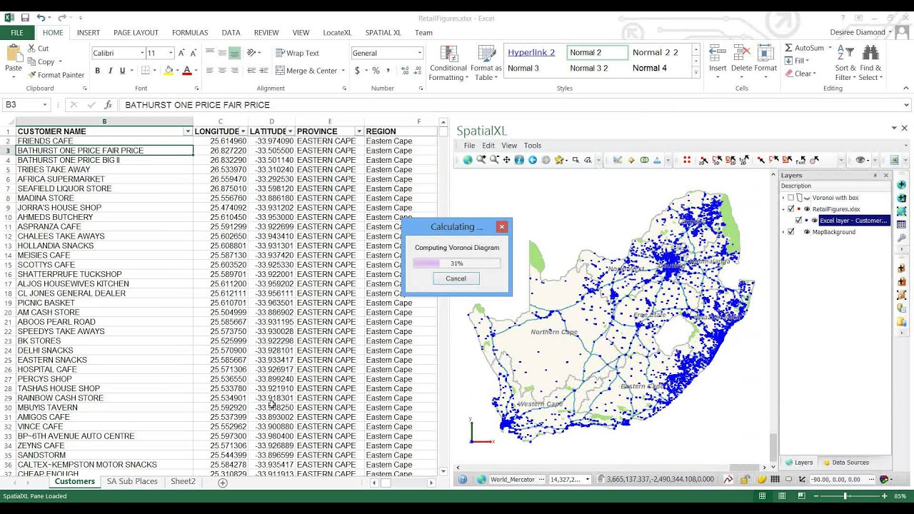 How To Create Voronoi Diagrams In SpatialXL In Excel