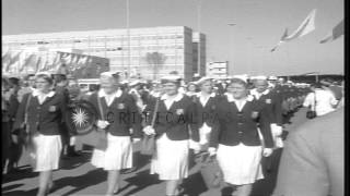 Group of US athletes march to the stadium during Summer Olympics of 1960 in Rome,...HD Stock Footage