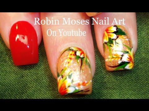 Diy Tropical Flower Nail Art Design Tutorial Youtube