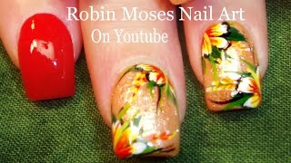 Nail Art Tutorial | Easy Flower Nails | Coral Tropical Glitter Nail Design