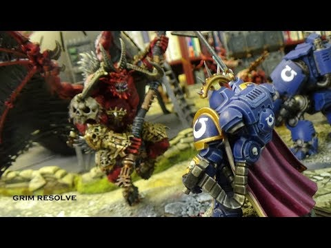 Khorne Daemons New Codex VS Ultramarines 2000pts 40k Maelstrom of War 8th Edition