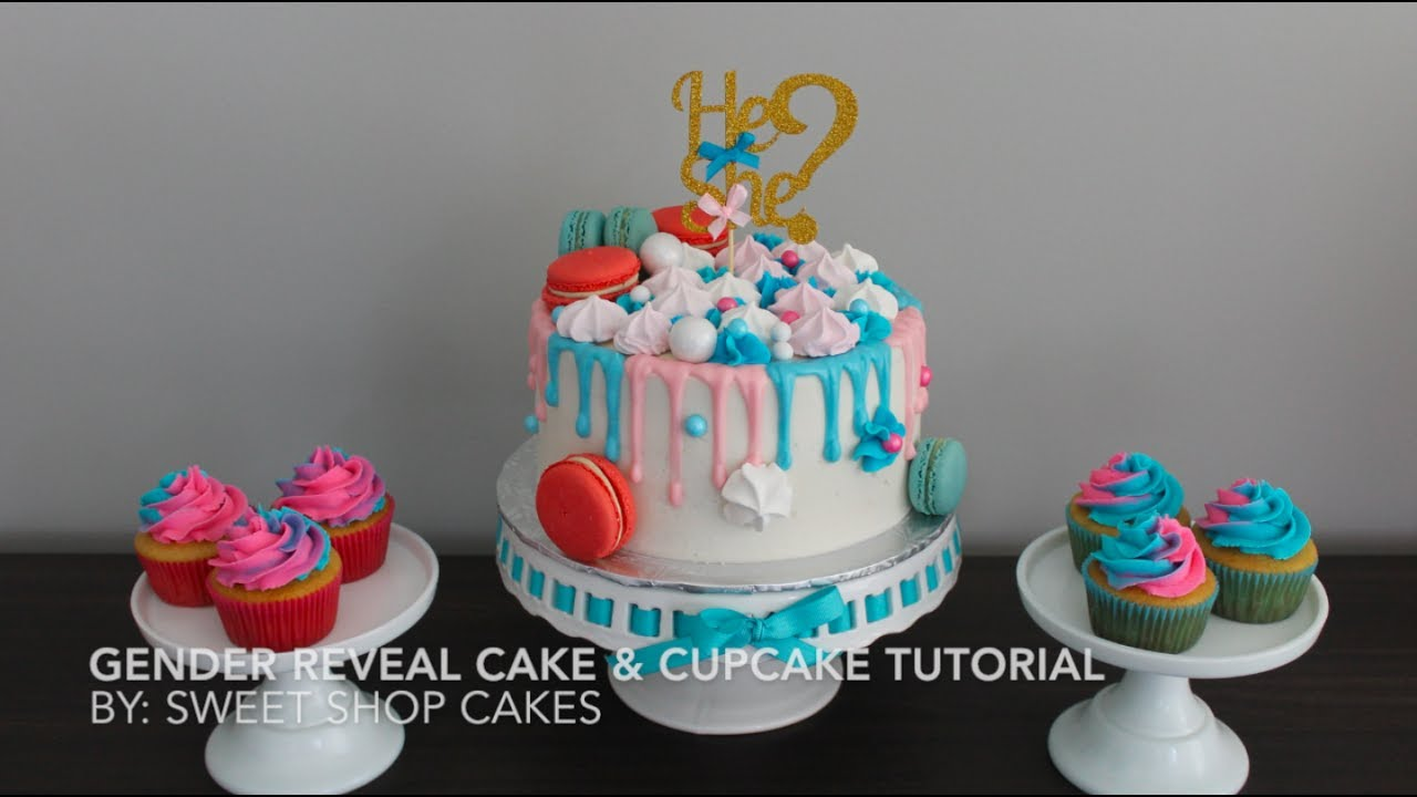 Gender Reveal Drip Cake Amp Cupcake Tutorial Sweet Shop